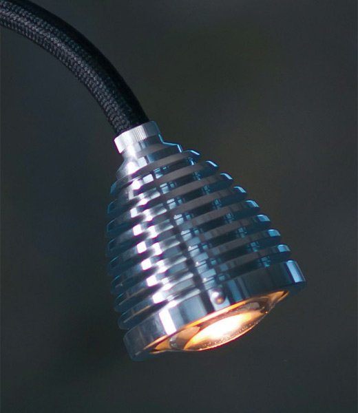 Athene Tischlampe, Alu, Textilkabel schwarz