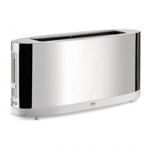 Toaster mit Brötchenaufsatz aus Edelstahl, glänzend poliert